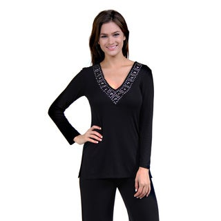 24/7 Comfort Apparel Women's Black Jeweled V-Neck Tunic