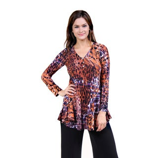 24/7 Comfort Apparel Women's Abstract Animal Print Henley Tunic