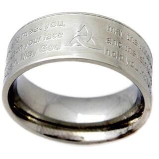 Stainless Steel Celtic Prayer Engraved Ring