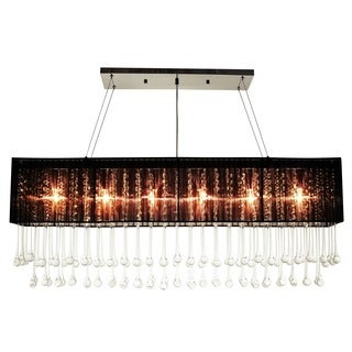 Fascination 6-light Black Rectangular Crystal Chandelier