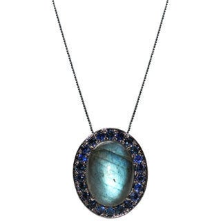 Sterling Silver Antiqued Labradorite and Sapphire Necklace