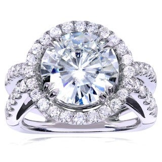 Annello 14k White Gold Round-cut Forever Brilliant Moissanite and 1 1/4ct TDW Halo Diamond Engagement Ring