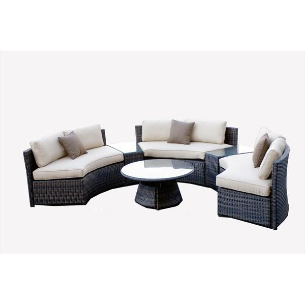 Monte Carlo 6-piece Curved Bench Conversation Set