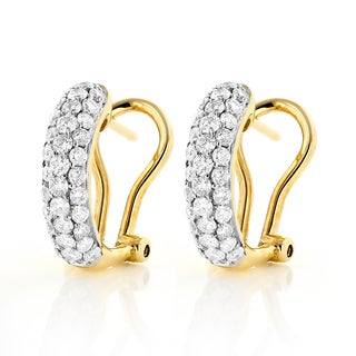 Luxurman 14k Yellow Gold 1ct TDW Pave-set Diamond Hoop Hug Earrings (H-I, SI1-SI2)