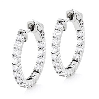 Luxurman 14k White Gold 1 4/5ct White Diamond Inside-out Hoop Earrings (H-I, SI1-SI2)