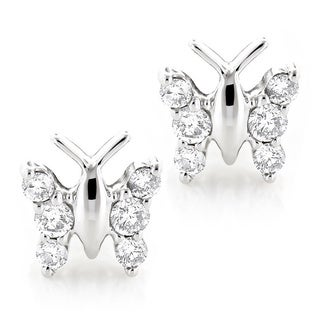 Luxurman 14k Gold 1/2ct Diamond Butterfly Stud Earrings (H-I, SI1-SI2)