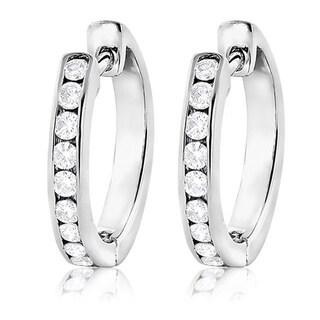 Luxurman 14k White Gold 1/2ct TDW Diamond Hoop Earrings (G-H, VS1-VS2)