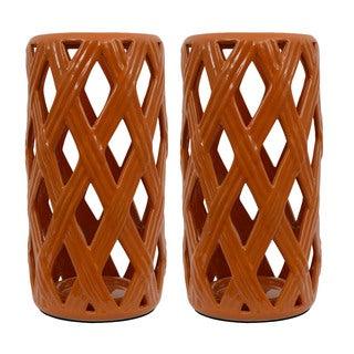 Orange Ceramic Loose Basket Weave Lanterns (Set of 2)