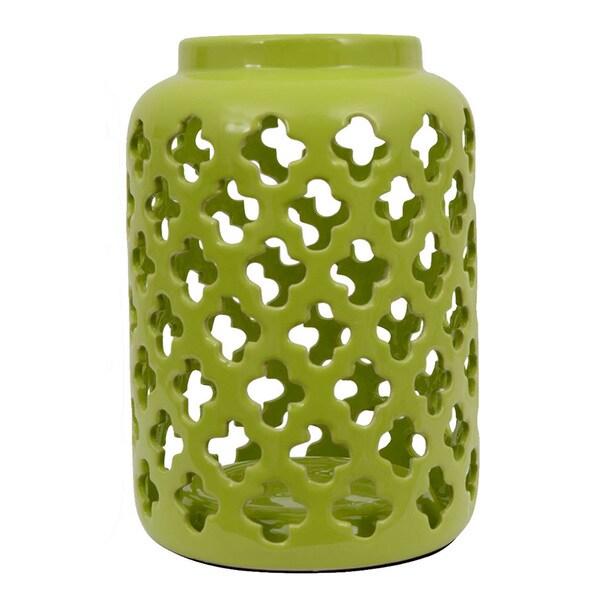 Green Quatrefoil Lantern