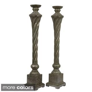 Elegant Silver/ Grey Detailed Candle Holders (Set of 2)