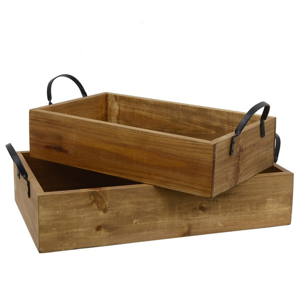 Pine Wood Trays with Leather Handles (Set of 2)