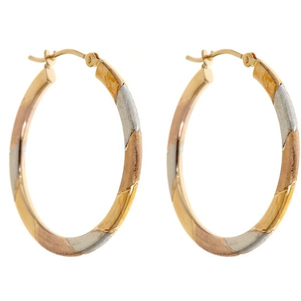 14k Gold Tricolor 25mm Hoop Earrings