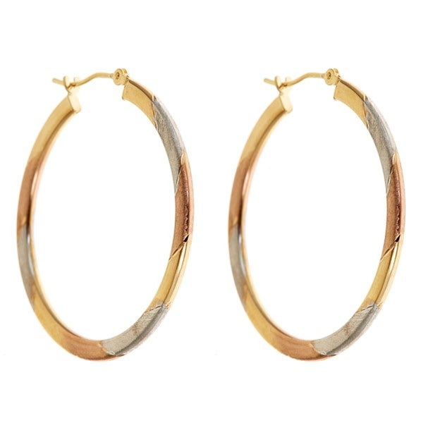 14k Gold Tricolor 32 mm Hoop Earrings
