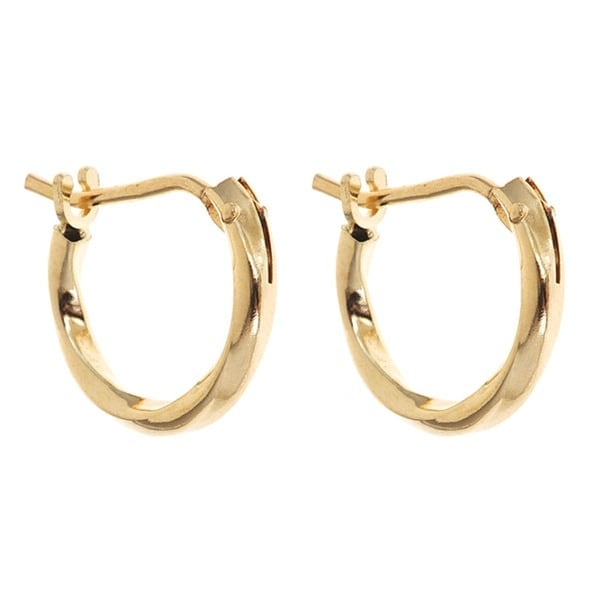 14k Yellow Gold 10mm Twisted Hoop Earrings