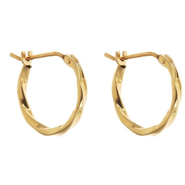 14k Yellow Gold 12mm Twisted Hoop Earrings