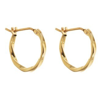 14k Yellow Gold 12mm Twisted Hoop Earrings