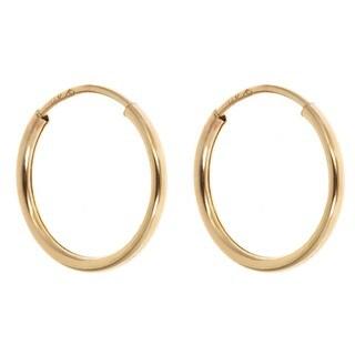 14k Yellow Gold 10mm Endless Hoop Earrings