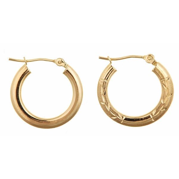 14k Yellow Gold 17mm Reversible Hoop Earrings