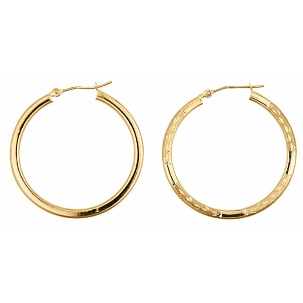 14k Yellow Gold 28mm Reversible Hoop Earrings