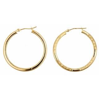 14k Yellow Gold 28mm Reversible Hoop Earrings