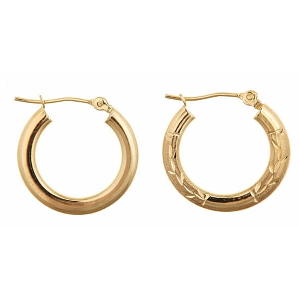 14k Yellow Gold Reversible Filigree Hoop Earrings