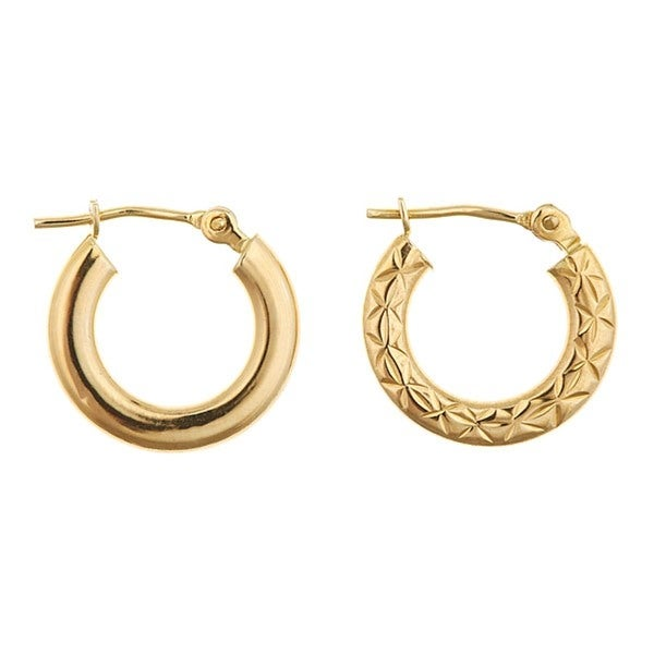 14k Yellow Gold 13mm Reversible Hoop Earrings