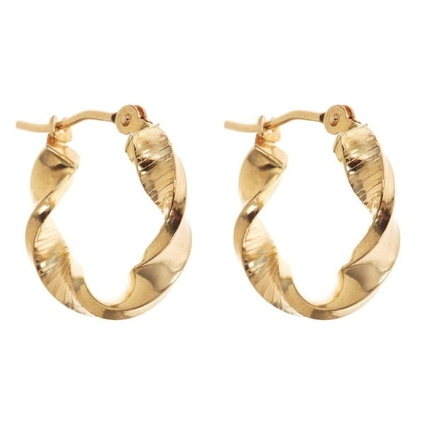 14k Yellow Gold 15mm Twisted Hoop Earrings