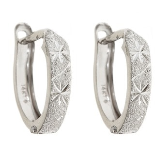 14k White Gold 12mm Satin and Diamond Cut Hinged Hoop Earrings