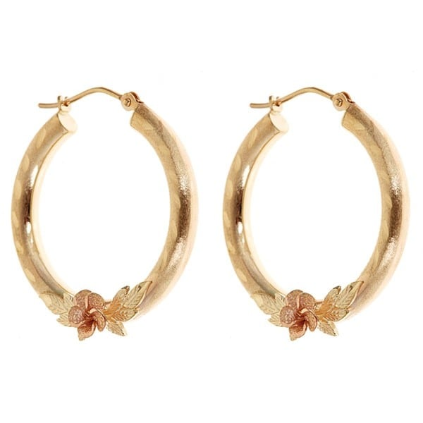 10k Yellow Gold 25mm Hoop Earrings with Rose Detail