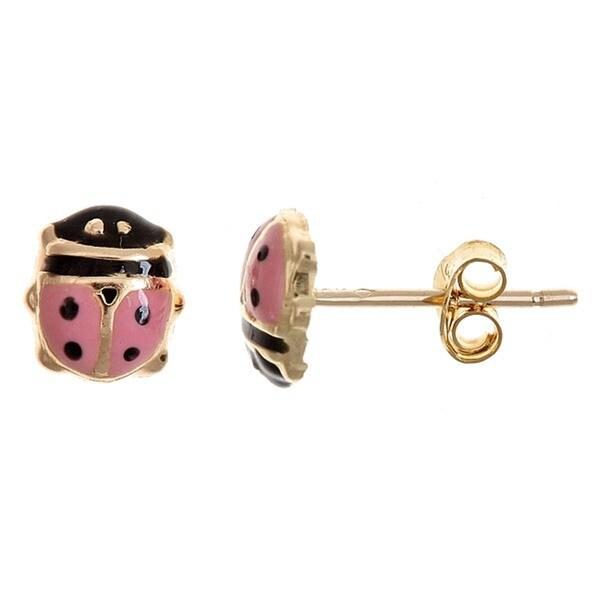 10k Yellow Gold Enamel Ladybug Stud Earrings