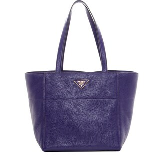 Prada Purple Grainy Leather Tote