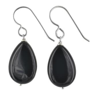 Ashanti Sterling Silver Black Onyx Gemstone Handmade Earrings (Sri Lanka)