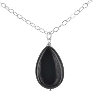 Ashanti Sterling Silver Black Onyx Gemstone Handmade Necklace (Sri Lanka)