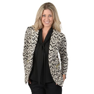 Timeless Comfort by Journee Women's Textured Button-front Blazer