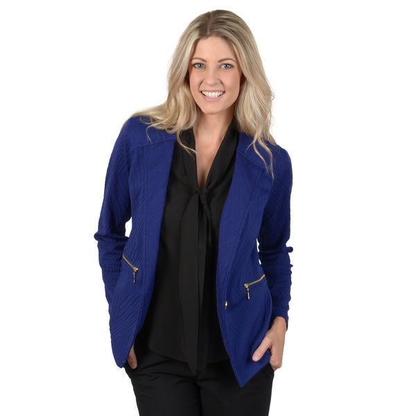 Timeless Comfort by Journee Women's Textured Zipper Pocket Detail Blazer