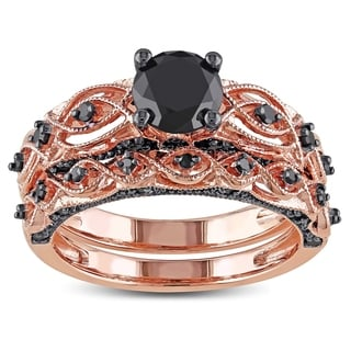 Miadora 10k Rose Gold 1 2/5ct TDW Black Diamond Bridal Ring Set