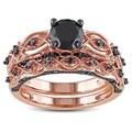 Miadora 10k Rose Gold 1 2/5ct TDW Black Diamond Bridal Ring Set