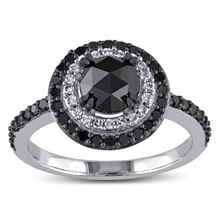 Miadora 10k White Gold 1 1/2ct TDW Rose-cut Black and White Diamond Double Halo Ring (H-I, I2-I3)