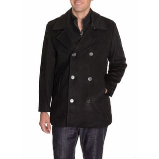 Barili Men's Black Wool Peacoat