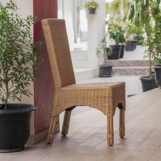 International Caravan 'Manhattan' Rattan Dining Chairs with Rattan Pole Legs (Set of 2)