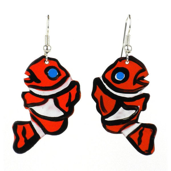 Handmade Painted Clown Fish Earrings (Kenya)