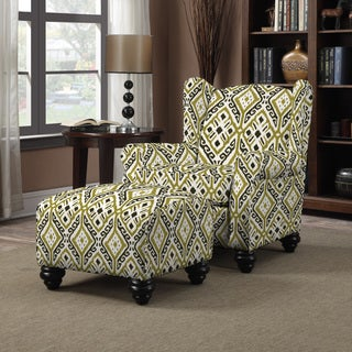 Portfolio Hani Olive Green Ikat Design Chair and Ottoman
