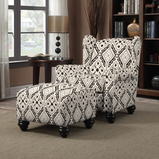 Portfolio Hani Grey and Black Ikat Design Chair and Ottoman