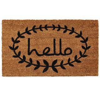 Calico Hello Coir with Vinyl Backing Doormat (1'5 X 2'5)