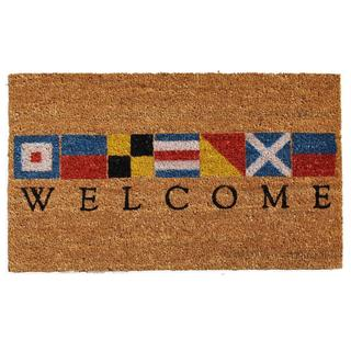 Nautical Welcome Coir with Vinyl Backing Doormat (1'5 X 2'5)