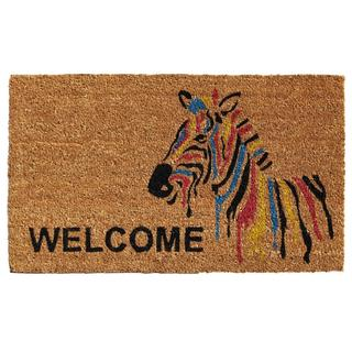 Zebra Welcome Coir with Vinyl Backing Doormat (1'5 X 2'5)