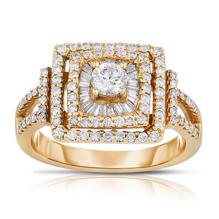 Eloquence 14k Two-tone Gold 1 1/10ct TDW Round Diamond Ring (H-I, I1-I2)