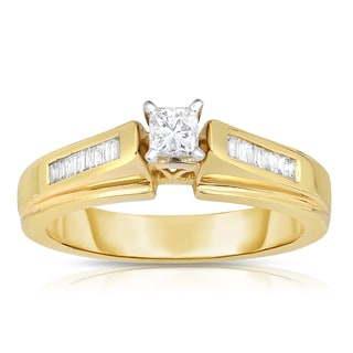 Eloquence 14k Yellow Gold 1/2ct TDW Princess-cut Solitaire Diamond Engagement Ring (I-J, I1-I2)