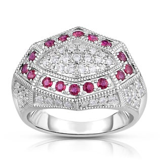 Eloquence 14k White Gold 1/2ct TDW Diamond and Ruby Vintage-style Ring (H-I, I1-I2)