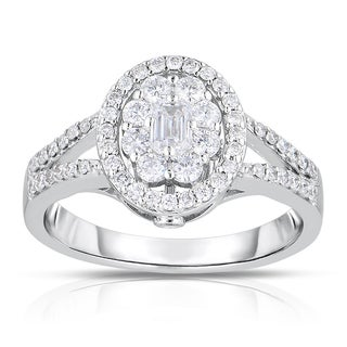 Eloquence 14k White Gold 1 3/8ct TDW Emerald-cut Composite Halo Diamond Ring (H-I, I1-I2)